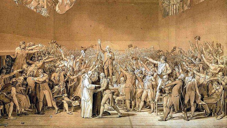 Eden i Bollhuset, en händelse under franska revolutionen som är viktig för grundandet av nationalförsamlingen.