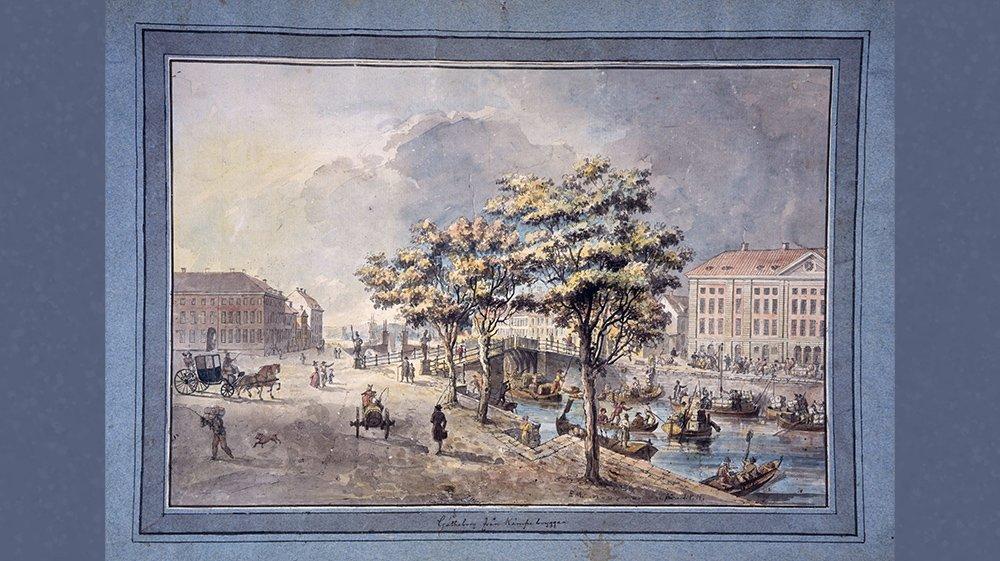 Akvarellmålning över hur Göteborg såg ut under frihetstiden.