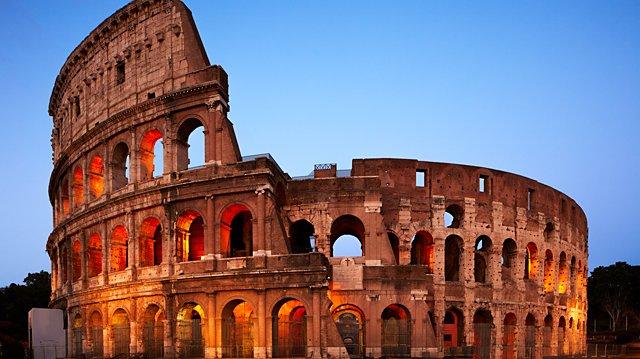 Colosseum i Rom. En byggnad som under romarriket bland annat användes för underhållning.