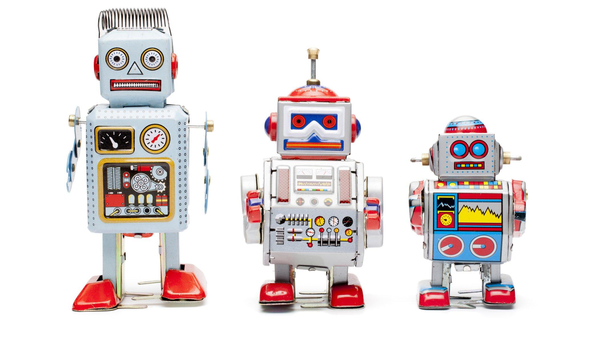 Robotarna kommer i många olika storlekar, och de liknar inte alltid människans form.