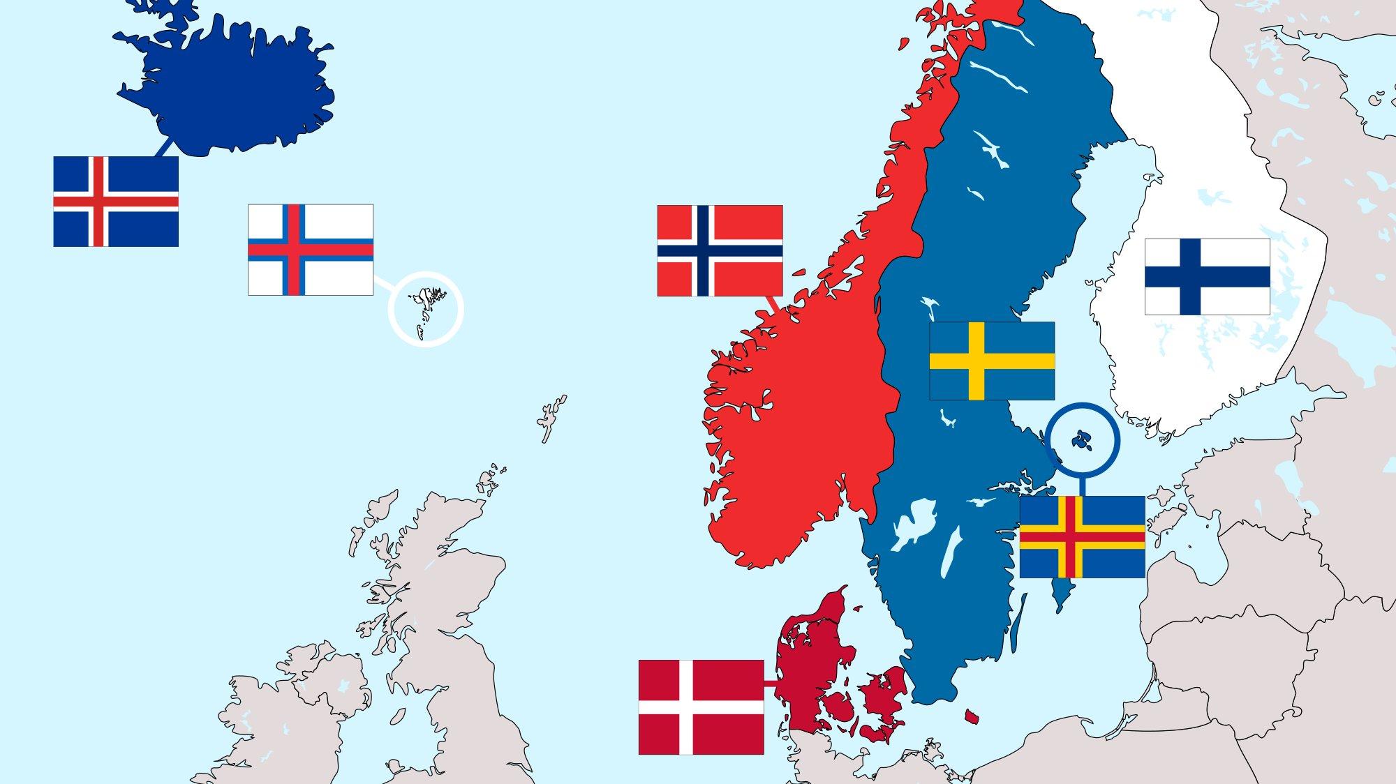 I Norden ingår fem länder och tre självstyrande områden.