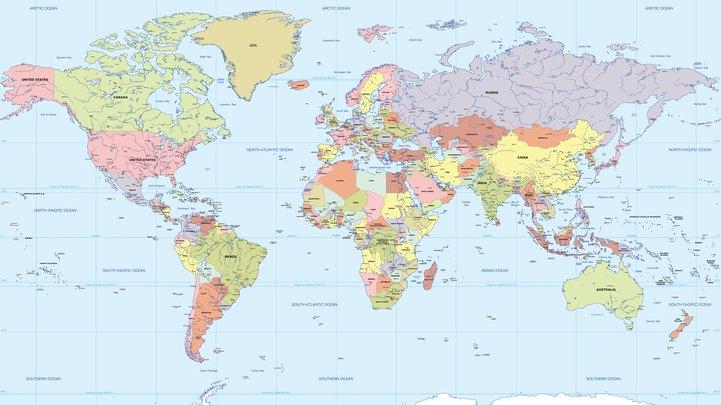 Karta över världen.