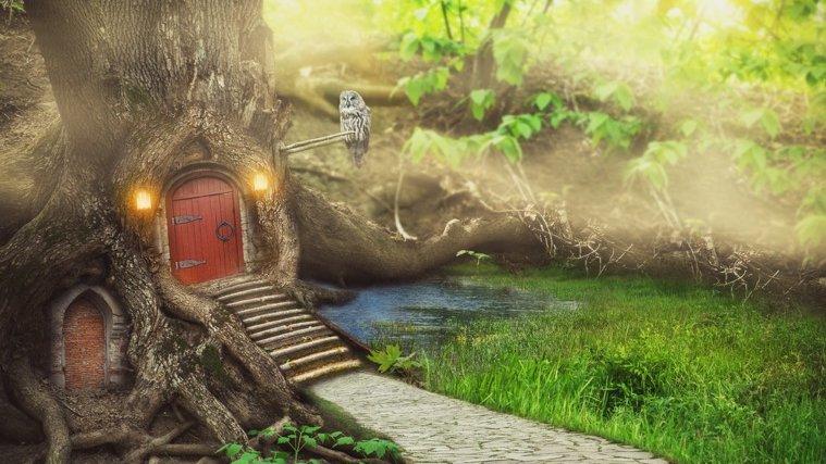 Tror du att det finns träd med små dörrar i på riktigt?