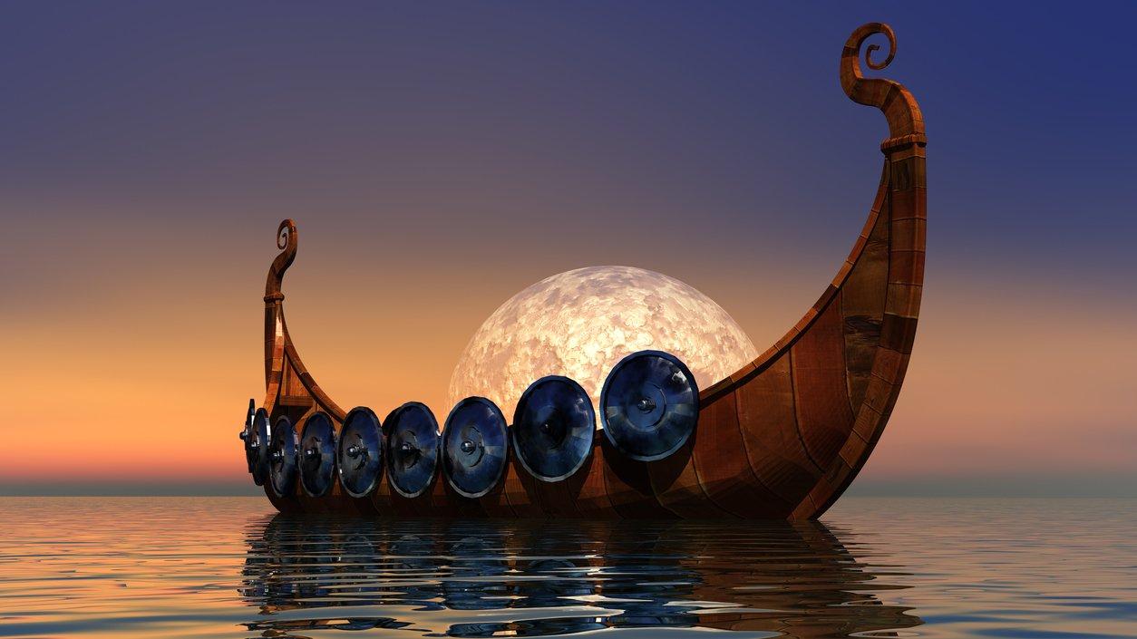 Vikingarna smög sig in i vikar med sina skepp.