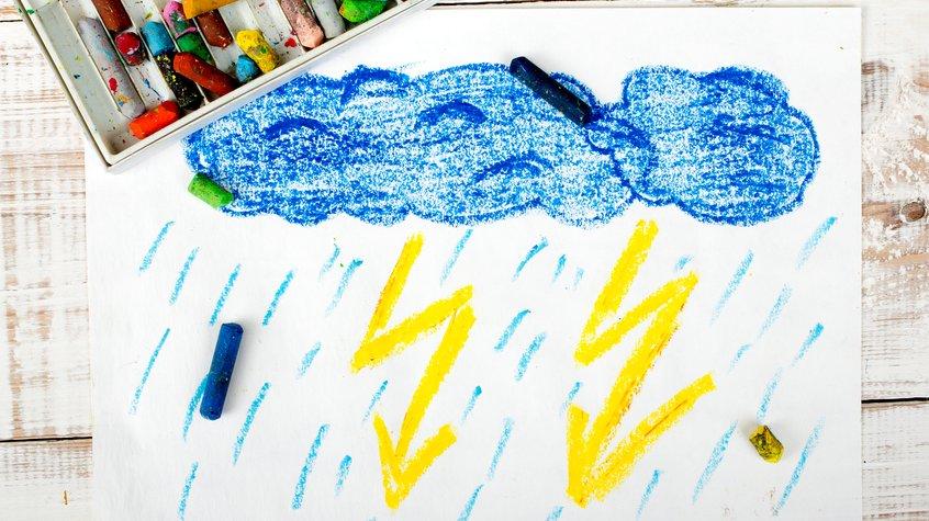 När vi läser om väder eller väderprognoser används ofta symboler. Regn kan visas som regndroppar ur regnmoln.
