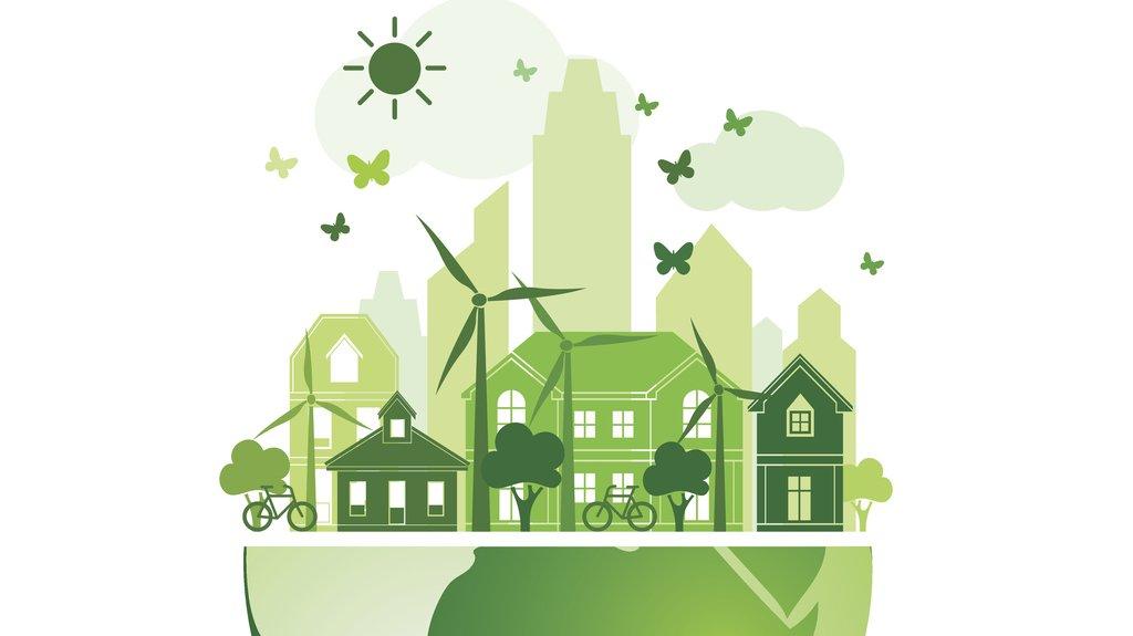 Färgen grön brukar användas för att visa något som är bra för naturen. Ser du något på bilden som är bra för miljön?