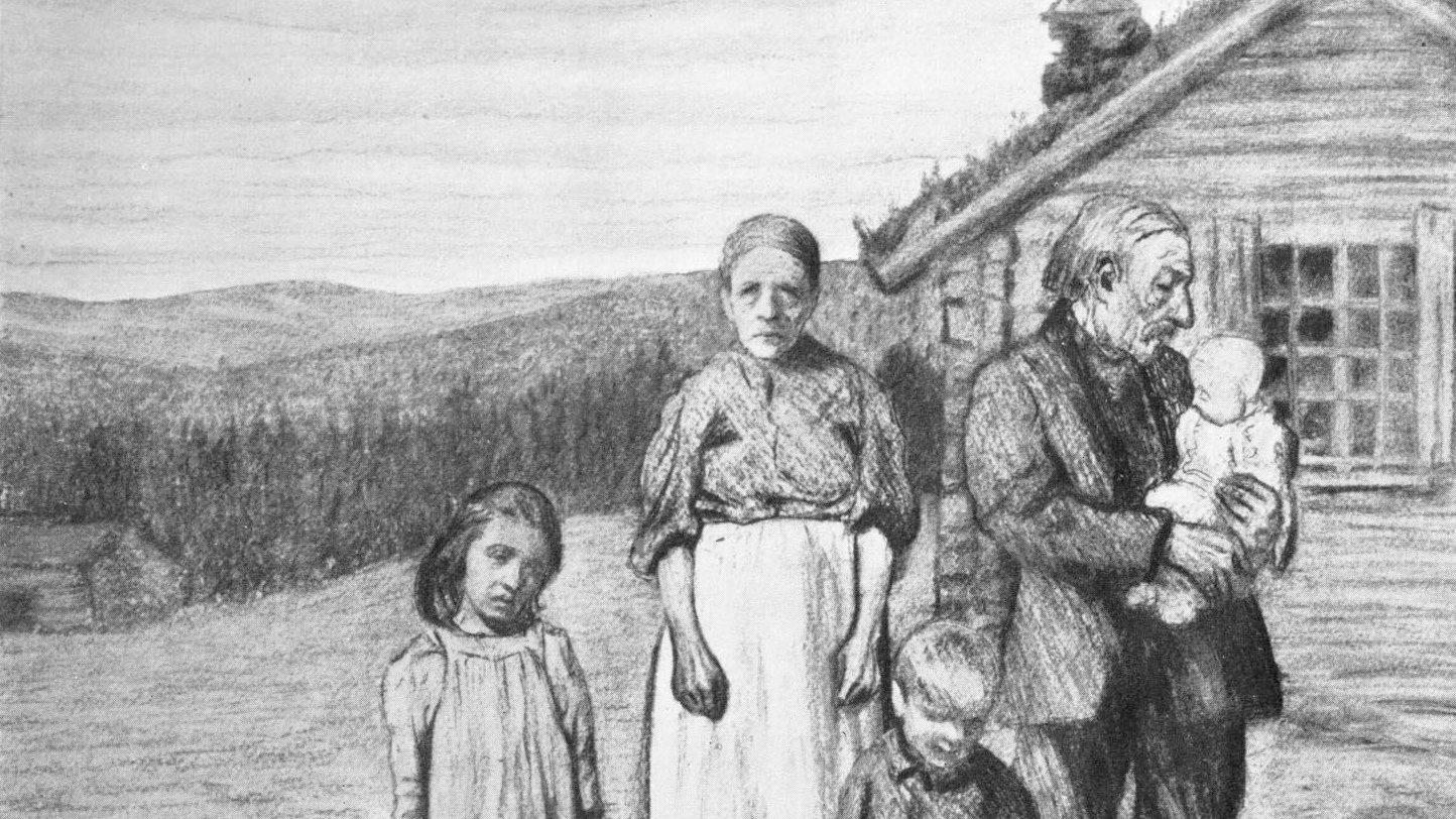 Kolteckning av Ragnar Ljungman från ungefär år 1900. Kanske var det så här Maja och hennes familj såg ut?